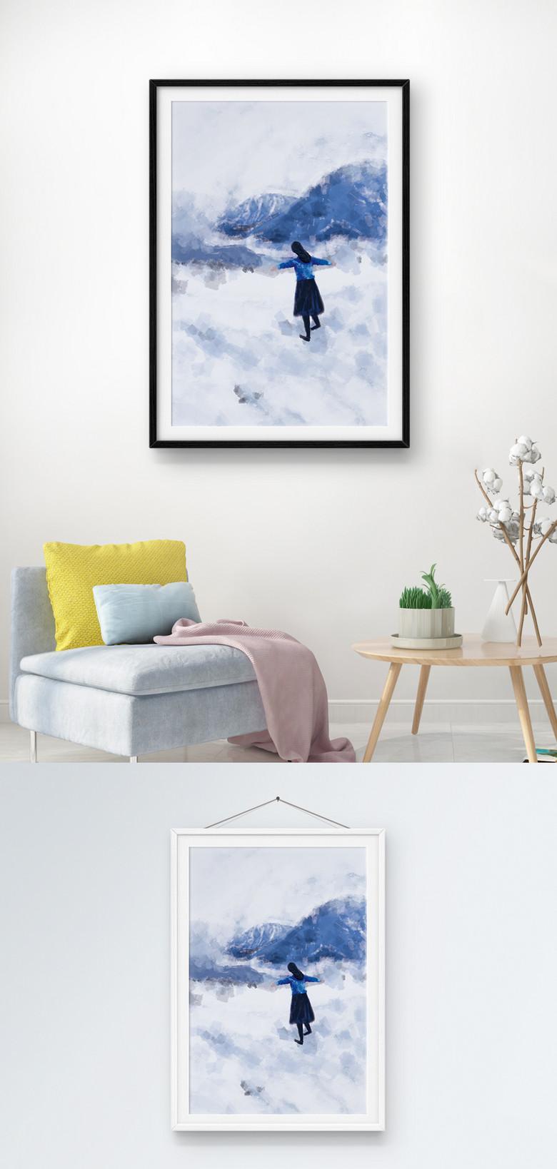 蓝色治愈系山川湖海家装方案室内装饰画设计图室内设计女孩取名字图片