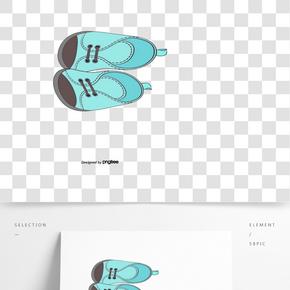 藍色手繪嬰兒鞋矢量