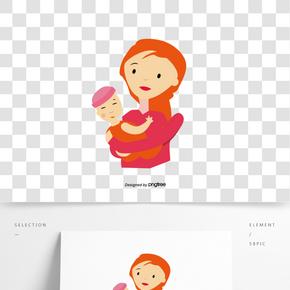 矢量母親節卡通媽媽的寶貝3