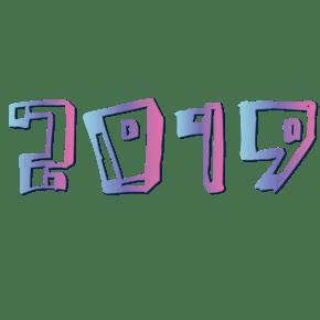 矢量彩色渐变2019免抠字体