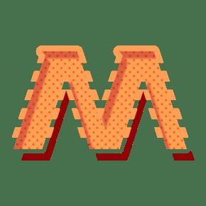 灰色英文字母M字体设计