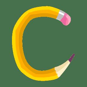 创意卡通英文字母艺术字c