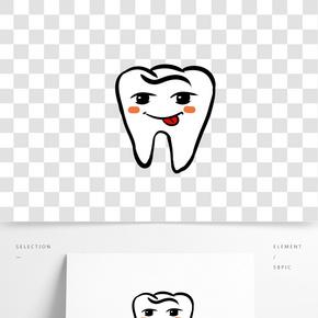 手绘吐舌头的微笑牙齿