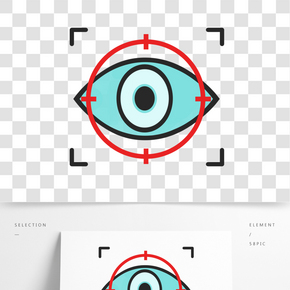 灰色眼睛觀察卡通元素