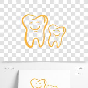 大笑的金色卡通牙齿图