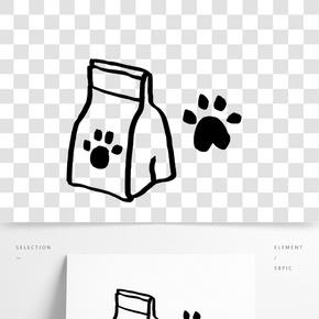 手繪貓糧和腳印
