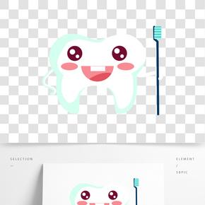 卡通矢量洁白牙齿图