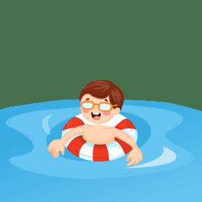 男孩们游泳圈蓝色的海
