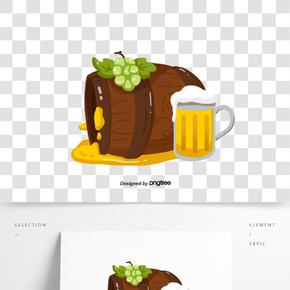 德國手繪卡通木紋材質酒桶插畫