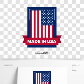 方形美國制造商標設計