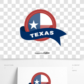 飄帶復古德克薩斯州徽章標簽貼紙