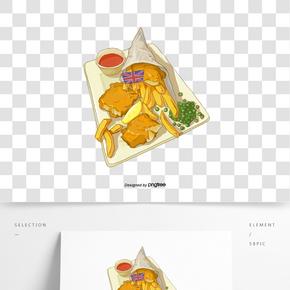 手繪+餐飲+英式美食+平面插畫+psd分圖層