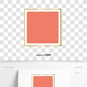 金色方框珊瑚紅色卡