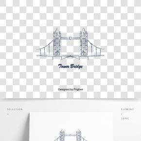 英國英式倫敦塔橋手繪創意建筑元素