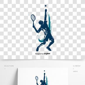 網球運動發球人物剪影