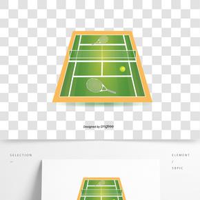 綠色網球場地插畫