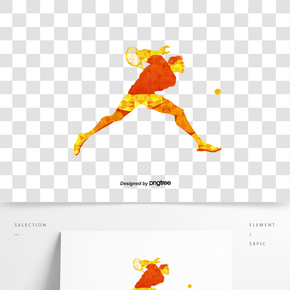 創意橙色色塊網球運動人物剪影