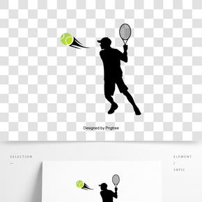 英國英式運動員網球拍網球創意剪影元素