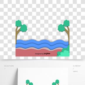 卡通風格夏季樹木海水