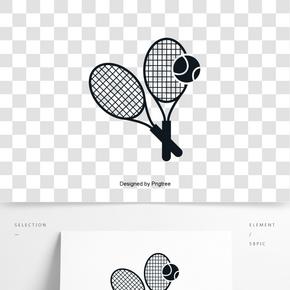 英國英式網球拍網球創意剪影元素