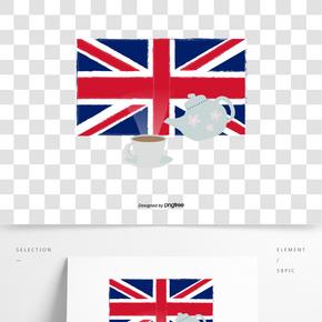 矢量扁平英國國旗和英式下午茶