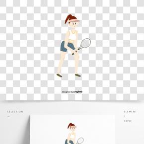 網球運動員形象插畫元素
