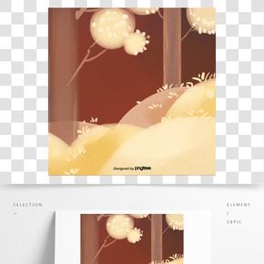 手繪黃色森林背景
