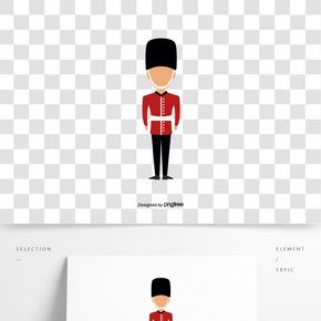 英國英式禁衛軍士兵立正熊皮帽創意元素