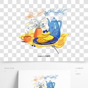 手繪風格英式下午茶藍色橙色黃色