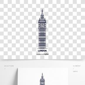 英國英式大本鐘手繪建筑創意元素