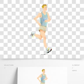 手绘插画马拉松运动跑步的人运动员