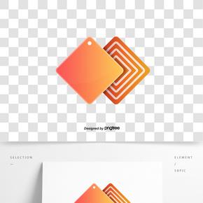 方形橘色漸變立體標簽
