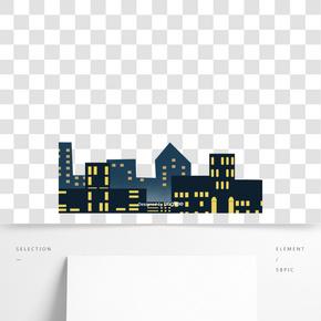 卡通风格城市建筑夜晚