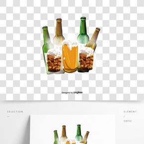 啤酒酒瓶酒杯泡沫加冰