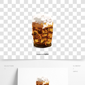 啤酒酒杯泡沫加冰冰塊