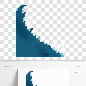 藍色浪花海水波浪裝飾