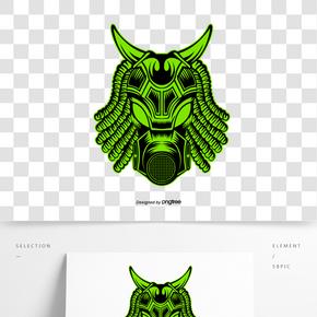 卡通風格綠色牛角面具