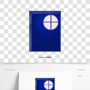 卡通風格藍色窗戶圓月星空