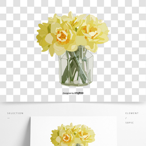 淡黃色插畫風花卉鮮花瓶