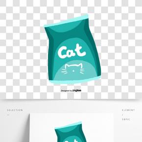 一袋藍色的貓咪糧食