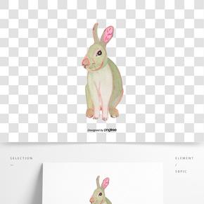 暖灰色卡通兔子手繪插畫元素