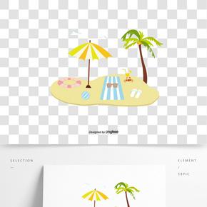 手繪扁平夏日沙灘物體插畫元素