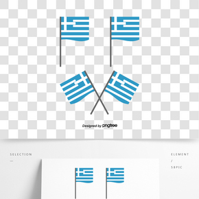 平面簡約希臘豎旗元素矢量圖