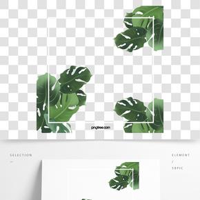 綠色熱帶植物方形邊框