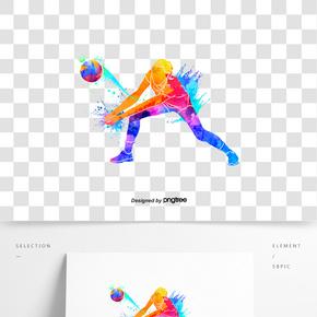 創意排球運動員剪影