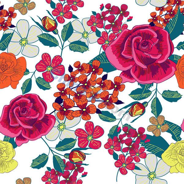手绘玫瑰花矢量背景图