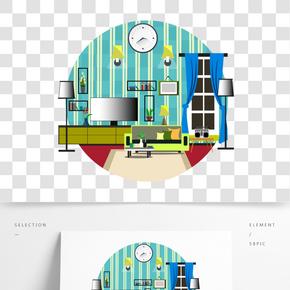 清新家具擺件設計矢量素材圖片