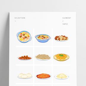 卡通美食佳肴菜品