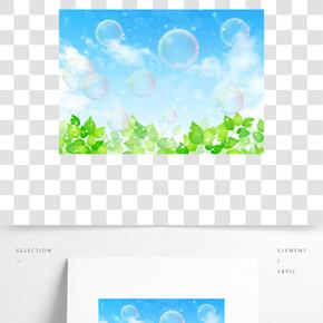 通用節日綠色卡通風活動促銷春天插畫PNG免摳元素