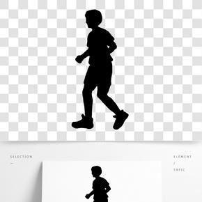 手绘跑步的人剪影PNG素材